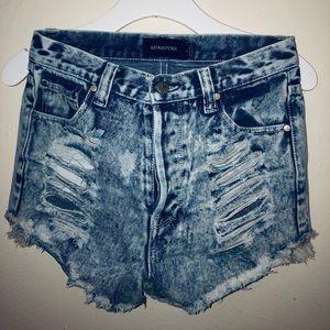 MINKPINK acid wash ripped denim shorts